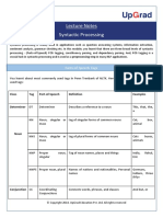 Lecture notes on Syntactic Processing