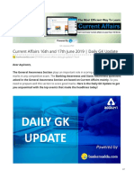 Bankersadda.com-Current Affairs 16th and 17th June 2019 Daily GK Update