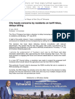 Verklaring van Tshwane-metro oor kragtariewe
