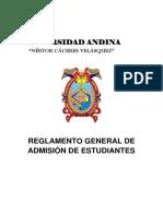 Reglamento General de Admision de Los Estudiantes