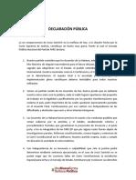 Declaración pública sobre comparecencia de Santrich