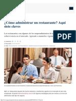 ¿Cómo Administrar Un Restaurante_ Aquí Siete Claves
