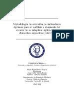 Metodología de selección de indicadores óptimos para el análisis y diagnosis del estado de la máquina- Aplicación a elementos mecánicos rotativos