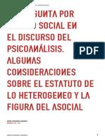 Pregunta por el lazo social en el discurso del psicoanálisis