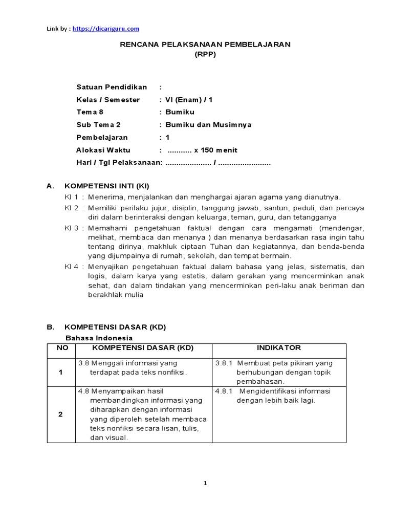 Rpp Kelas 6 Tema 8 St 2 Dicariguru Com