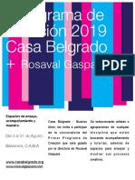 Programa de creación 2019. Casa Belgrado + Rosaval Gaspard