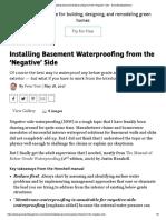 Installing Basement Waterproofing From the 'Negative' Side - GreenBuildingAdvisor