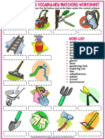 Gardening Tools Vocabulary Esl Matching Exercise Worksheet for Kids