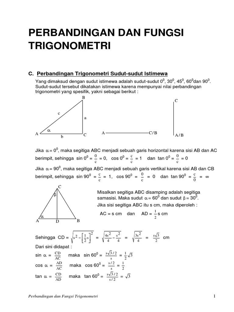 Contoh Soal Perbandingan Trigonometri Sudut Istimewa Berbagai Contoh