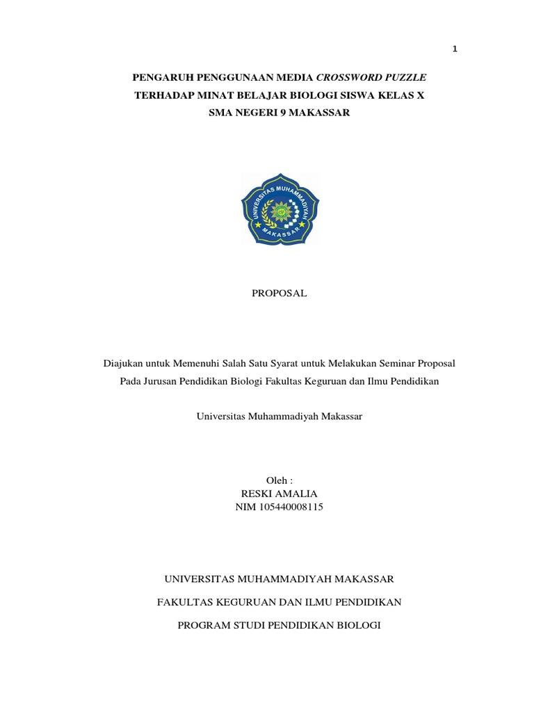 Proposal Penelitian Pendidikan Biologi Makassar
