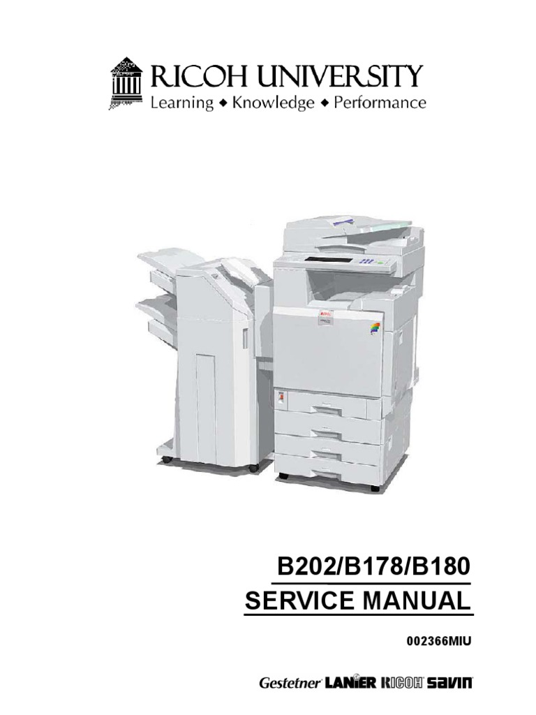 Ricoh B202-B178-B180,3228C,3235,3245 Service Manual | Image Scanner |  Photocopier