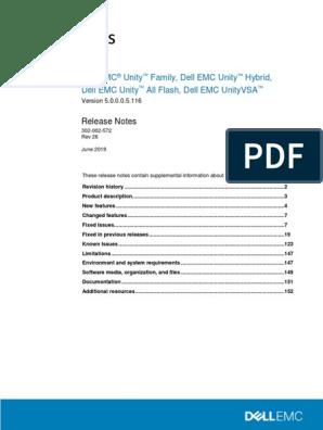Docu94618 Dell EMC Unity Family 5 0 0 0 5 116 Release Notes