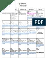 1st quarter math 6 calendar