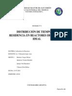 Informe 9 Distribucion de Tiempos de Residencia en Reactores Continuos Flujo No Ideal