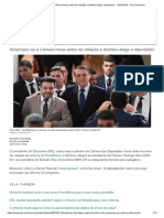 Bolsonaro Vai à Câmara Horas Antes de Votação e Distribui Afago a Deputados - 10-07-2019 - UOL Economia