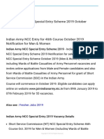 Indian Army NCC Special Entry Scheme 2019 October