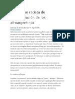 El discurso racista de invisibilización de los afroargentinos