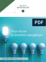 Pour Reussir La Transition Energetique Resume Executif