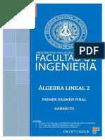 Gabarito de examen final de Álgebra Lineal