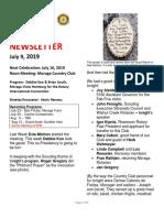 Moraga Rotary Newsletter July 9 2019