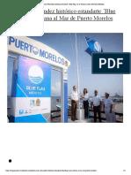 """Iza Laura Fernández histórico estandarte """"Blue Flag"""" en la Ventana al Mar de Puerto Morelos"""