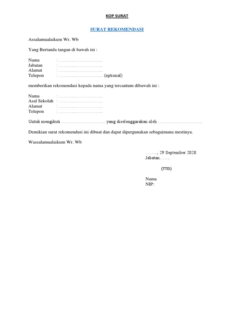Contoh Surat Rekomendasi Sekolah