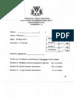 P4 Math SA1 2011 Catholic