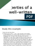 Properties of a well written text