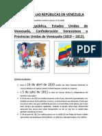 Resumen de Las Repúblicas en Venezuela