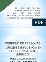 """DERECHO DE PERSONAS """" ORIGEN E INFLUENCIA EN EL ORDENAMIENTO JURÍDICO"""""""