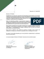 Carta de Torra i Bosch a la cancelleria francesa