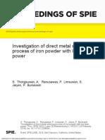 InvestigationofDirectMetalLaserSinteringProcessofIronPowderwithLowLaserPower.pdf
