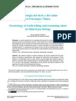 Deontologia del decir y del calla en psicologia clinica