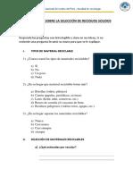 Cuestionario Sobre La Selección de Reciduos Solidos