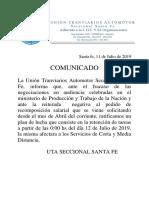 Comunicado de UTA 11/07/19