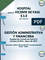 Informe Gestion Adtiva y Financiera - Hsvp - Concejo Mpal - Mayo 2019
