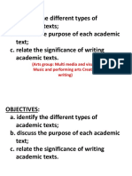 TYPES OF ACADEMIC TEXTS