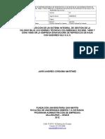 Implementación de Un Sistema Integral de en La Empresa Envasadora de Refrescos de Agua Con Sabores Iglú s.a.s.