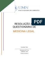 Questionário e Resolução de Medicina Legal(1)