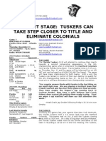 Tuskers Game Notes Week 9