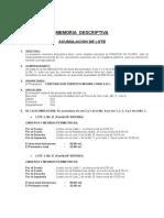 Memoria Descriptiva _ Corporacion Turistica Medina Coria s.a.c _acumulacion