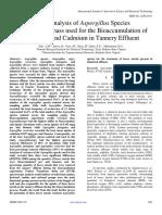 FT-IR Analysis of Aspergillus Species Mycelium Biomass used for the Bioaccumulation of Chromium and Cadmium in Tannery Effluent