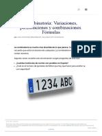 Combinatoria_ Variaciones, Permutaciones y Combinaciones. Fórmulas