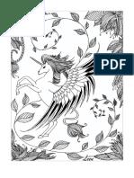 Mindfulness Colouring PDF Page Unicorn