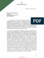 Carta de Colau als advocats de Forn sobre la presència del pres polític al ple del cartipàs.