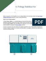 Benefits of Servo Voltage Stabilizer for Industrial Use