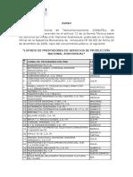 Listado de Prestadores de Servicios de Produccion Nacional Audioviusal