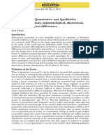 Comparison of Quantitative and Qualitative Research Traditions Epistemological Theoretical and Methodological Differences
