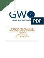 2018-10-01 GWO Training Provider Criteria Version 7