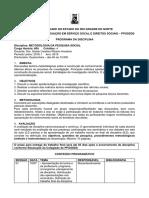 PGCC Metodologia Da Pesquisa Social 2019.1